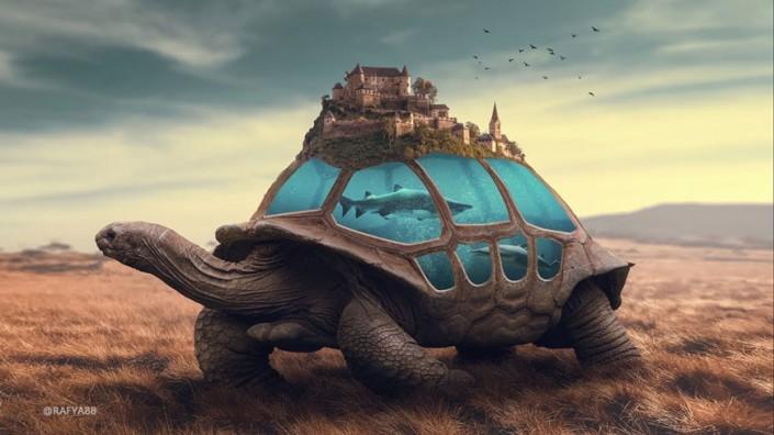 超现实合成,通过PS合成乌龟背上的海洋和城堡的超现实场景_www.16xx8.com
